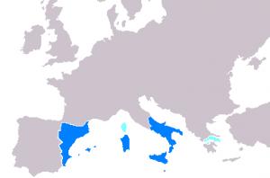 Maximale  verspreiding van het gebied waar Catalaans werd gesproken... (copyright Albrecht)